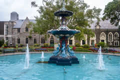 Canterbury museum and gardens, Christchurch, New Zealand. A blue fountain in the canterbury museum and botanical gardens, Christchurch, New Zealand Royalty Free Stock Image