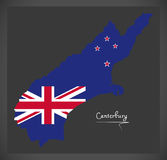 Canterbury New Zealand map with national flag Stock Photography