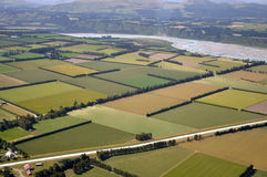 Canterbury patchwork. Aerial of tidy Canterbury farms, South Island, New Zealand Stock Photography
