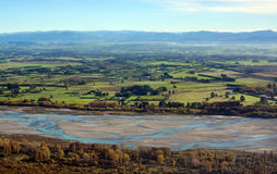 Canterbury Plains & Waimakariri River Aerial Autumn morning, Ne royalty free stock photos