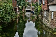 Canterbury sailing canal, beetwen buildings. royalty free stock images