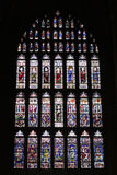 Canterbury stain glass. Stain glass inside the Canterbury Cathedral in Southern England Stock Photo