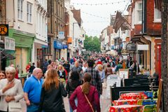 Crowded Canterbury Old Town Kent Southern England UK. CANTERBURY, UK - JUN 1, 2013: Crowded street at Old Town of  Canterbury, UNESCO World Heritage Site and one Stock Photo