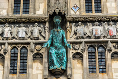 Statue of Jesus on the Christ Church Gate of Canterbury Cathedra. Canterbury, UK: The statue of Jesus on the Christ Church Gate to Canterbury Cathedral Royalty Free Stock Photos