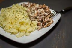 Cantharellen met aardappels worden gestoofd die stock afbeelding