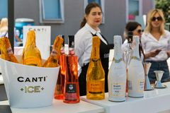 Kyiv Wine Festival by Good Wine in Ukraine. Canti booth at Kyiv Wine Festival. Big festival of wine and healthy food was organized by Good Wine company, 77 Stock Photo
