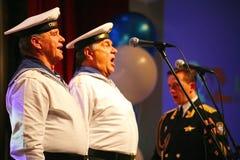 Canti dei soldati russi, del coro e delle soliste della canzone e dell'insieme di ballo del distretto militare di Leningrado Immagine Stock Libera da Diritti