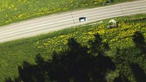 Cantidad aérea cinemática del abejón que conduce con paisajes hermosos con las montañas Camino Silueta del hombre de negocios Cow almacen de metraje de vídeo