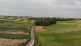 Cantidad aérea con vuelo sobre campo agrícola almacen de metraje de vídeo