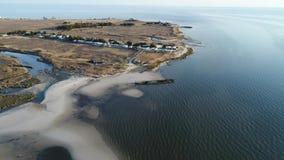 Cantidad aérea de la bahía de Delaware vieja del naufragio Heislerville metrajes