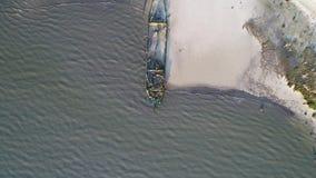 Cantidad aérea de la bahía de Delaware vieja del naufragio Heislerville almacen de video