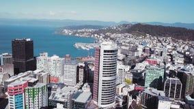 Cantidad aérea de la ciudad 4K UHD de Wellington almacen de metraje de vídeo