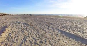 Cantidad aérea de la costa costa en Netherland Vuelo del abejón a lo largo de la playa de la arena metrajes