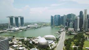 Cantidad aérea de Marina Bay Singapore almacen de metraje de vídeo