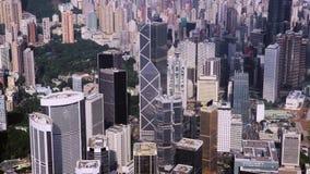 Cantidad aérea del abejón en Hong Kong, una de las ciudades modernas más icónicas de Asia almacen de video