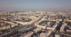 Cantidad aérea a gran altitud de Victory Square en el centro hisoric de Minsk metrajes