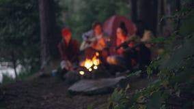 Cantidad borrosa de los amigos de los turistas que se sientan alrededor de hoguera en bosque, tocando la guitarra y cantando cons metrajes