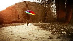 Cantidad caliente-entonada brillante: el feliz niño pequeño salta con el paraguas en parque del otoño metrajes