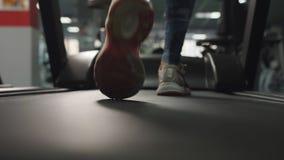 Cantidad de la c?mara lenta de piernas supuesto femeninas en las zapatillas de deporte que corren en la rueda de ardilla almacen de video