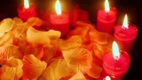 Cantidad de la vela que quema con los pétalos de la flor Día de tarjeta del día de San Valentín