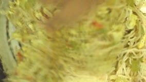 Cantidad de las existencias de alimentos de la preparación de Chowmin metrajes
