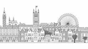 Cantidad dibujada mano colocada de la ciudad de Londres metrajes