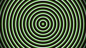 Cantidad inconsútil perfecta del lazo 4K Círculos que pulsan Animated u ondas de radio Blanco, verde, marrón, negro ilustración del vector