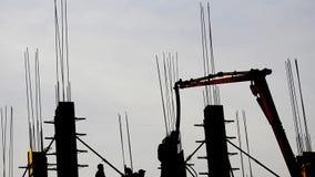Cantiere del grattacielo della costruzione archivi video