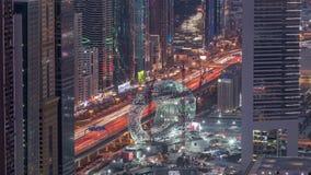 Cantiere del museo del giorno aereo futuro al timelapse di notte, costruzione iconica seguente del Dubai stock footage