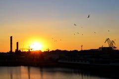 Cantiere navale al tramonto Immagine Stock