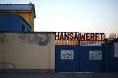 Cantiere navale Berlino di Ansa dell'entrata della fabbrica immagine stock