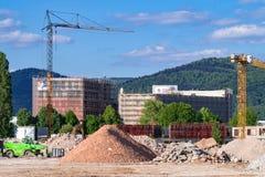 Cantiere su area di Patton Barracks: rimozione della terra per un nuovo parco dell'innovazione di Heidelberg, i primi lavori di c Fotografia Stock Libera da Diritti