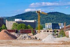 Cantiere su area di Patton Barracks: rimozione della terra per un nuovo parco dell'innovazione di Heidelberg, i primi lavori di c Fotografia Stock