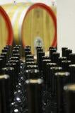 Cantina con i barilotti di legno e le bottiglie di vetro riempite 9 Fotografia Stock