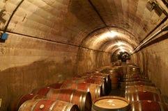 Cantina per vini con i barili allineati immagine stock