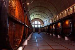 Cantina per vini con i vecchi barilotti di vino Immagine Stock