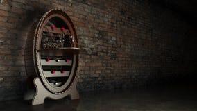 Cantina in pieno delle bottiglie di vino Fotografia Stock