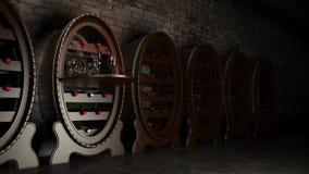 Cantina in pieno delle bottiglie di vino Fotografia Stock Libera da Diritti