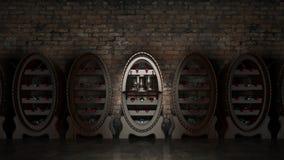 Cantina in pieno delle bottiglie di vino Immagini Stock Libere da Diritti