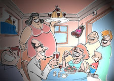 Cantina01. Italian restaurant stock illustration
