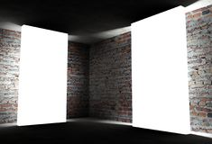 canto 3d interior com frames vazios brancos Foto de Stock