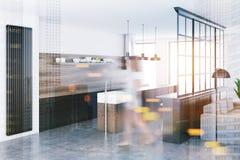Canto branco da cozinha, borrão cinzento das bancadas Fotografia de Stock Royalty Free