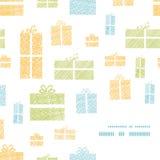 Canto colorido do quadro da textura de matéria têxtil das caixas de presente Imagens de Stock Royalty Free