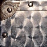 Canto de metal da folha e fundo de Grunge dos rebites Foto de Stock