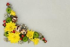 Canto decorativo da Páscoa de flores amarelas, verdes e brancas com Fotografia de Stock Royalty Free