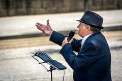 Canto del musicista della via per i turisti Fotografie Stock Libere da Diritti