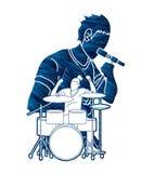 Canto del musicista e tamburo di gioco, banda di musica, vettore del grafico dell'artista illustrazione di stock