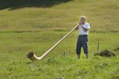 Canto dell'uomo anziano al corno di Alpen Immagine Stock Libera da Diritti