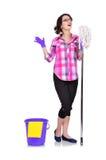 Canto della donna di pulizia Fotografie Stock