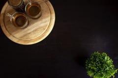Canto do copo de café, árvore no mais baixo canto fotografia de stock